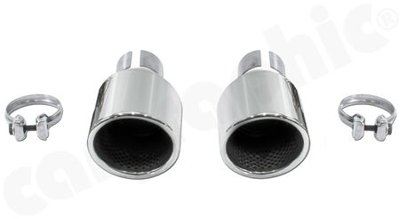 CARGRAPHIC Sport Tailpipe Set - - 2x 100mm round, rolled-in<br>